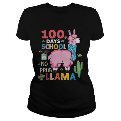 100 Days of school no probllama ladies tee