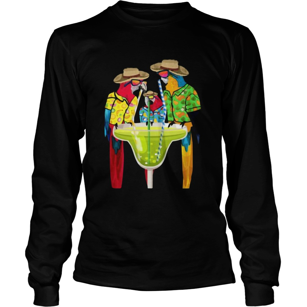 Parrots Drinking Margarita Hawaiian Vacation Birds Shirt LongSleeve