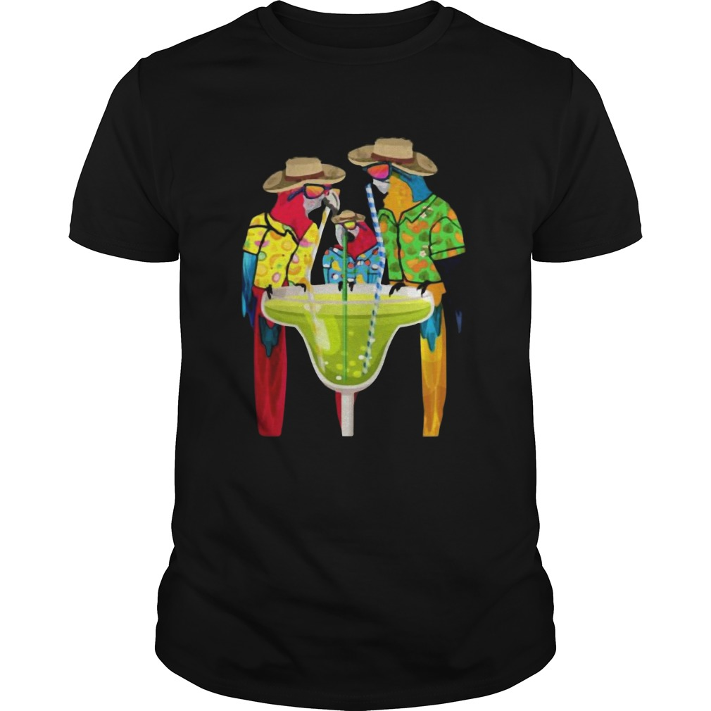 Parrots Drinking Margarita Hawaiian Vacation Birds Shirt Unisex