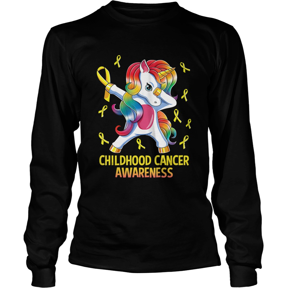 Dabbing Unicorn Childhood Cancer Awareness Warrior Gift TShirt LongSleeve