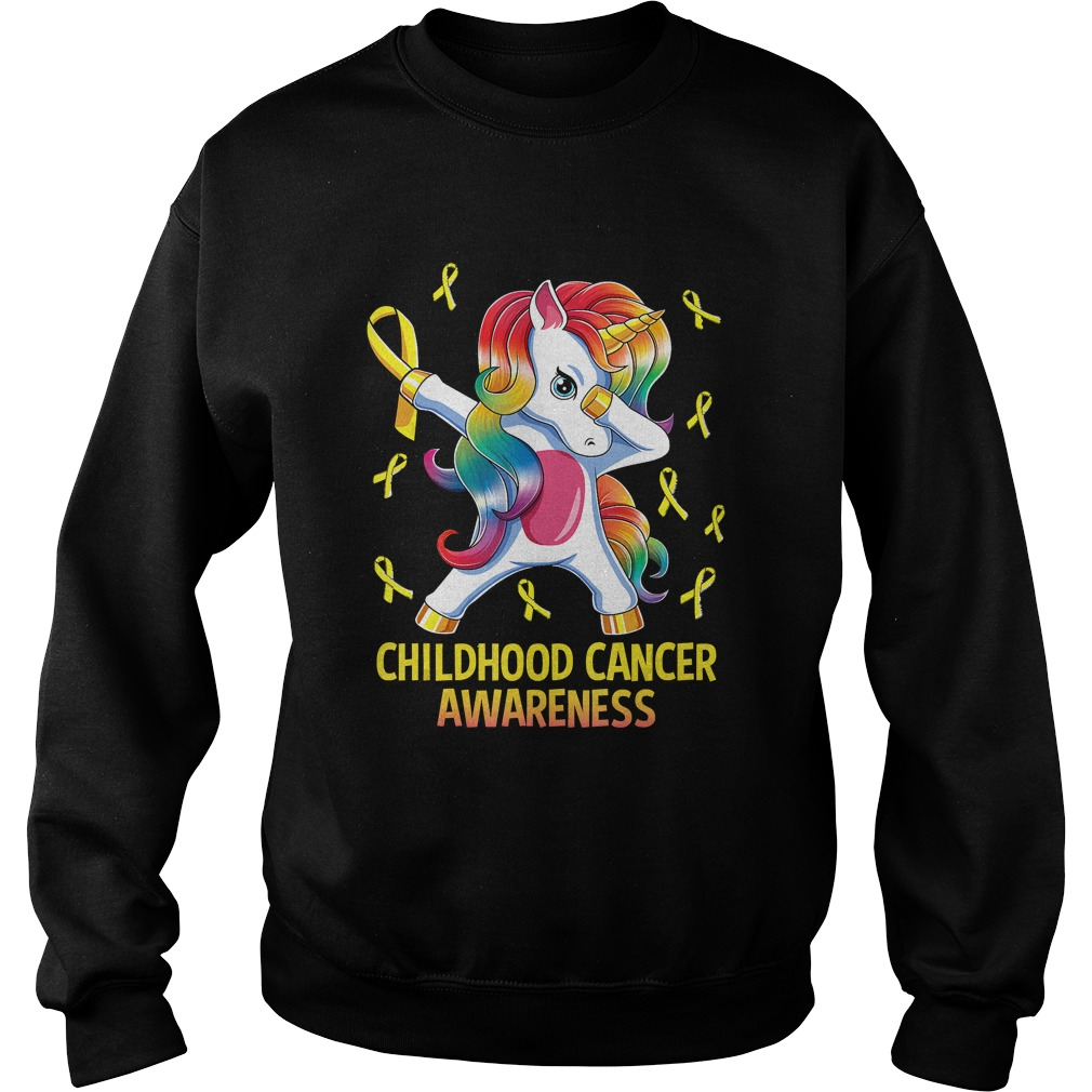 Dabbing Unicorn Childhood Cancer Awareness Warrior Gift TShirt Sweatshirt