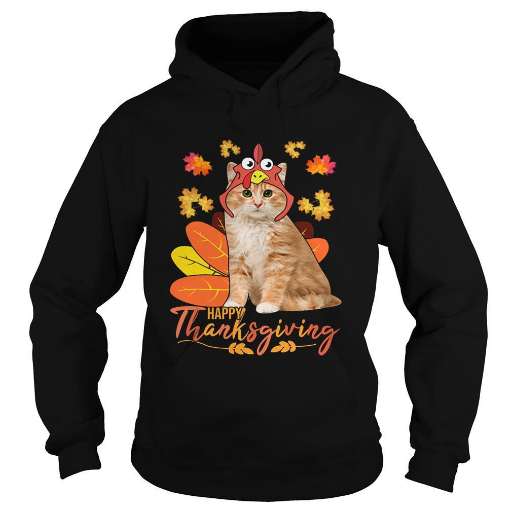 Cat Happy ThanksGiving Funny Cat Lover Gift TShirt Hoodie
