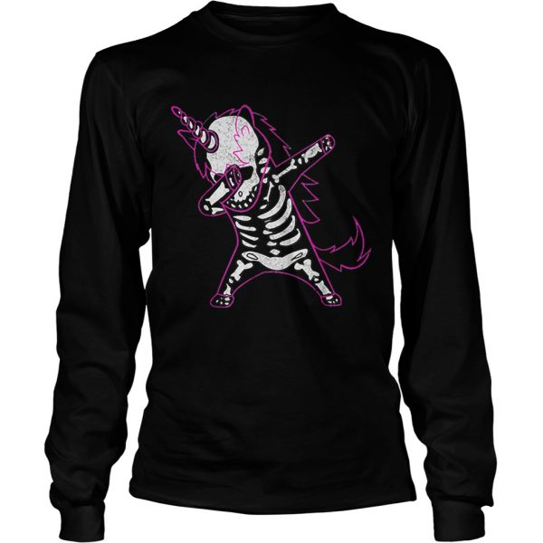 Dabbing Unicorn Skeleton Halloween Costume Men Women Gift  LongSleeve