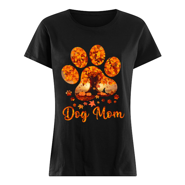 Dog Mom Autumn Leaves Halloween T-Shirt Classic Women's T-shirt