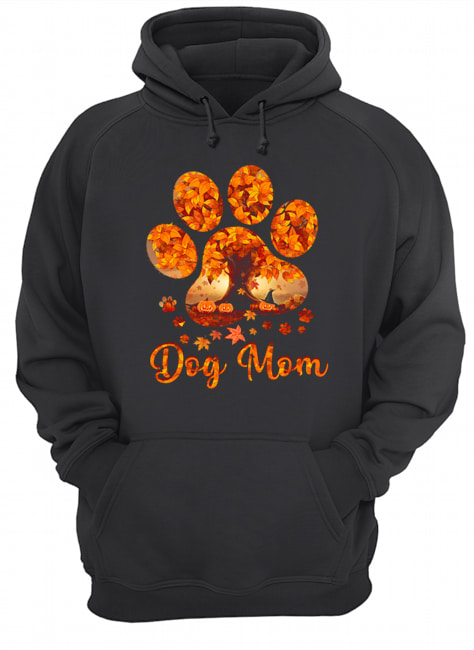 Dog Mom Autumn Leaves Halloween T-Shirt Unisex Hoodie