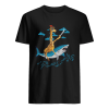 Giraffe Pirate Riding Shark Sword Cute Animal Halloween Gift T-Shirt Classic Men's T-shirt