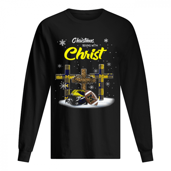 Christmas Begins With Michigan Wolverines  Long Sleeved T-shirt