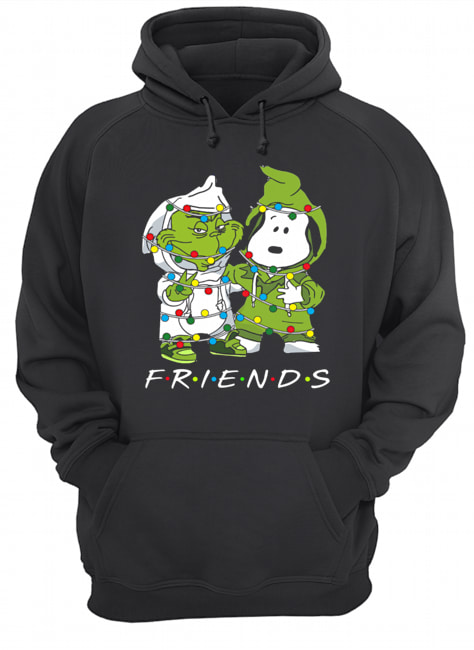 Friends Grinch and Snoopy light christmas  Unisex Hoodie