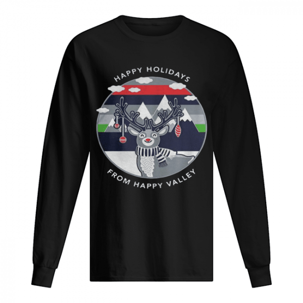 Penn State Happy Holidays From Happy Valley Reindeer Christmas  Long Sleeved T-shirt
