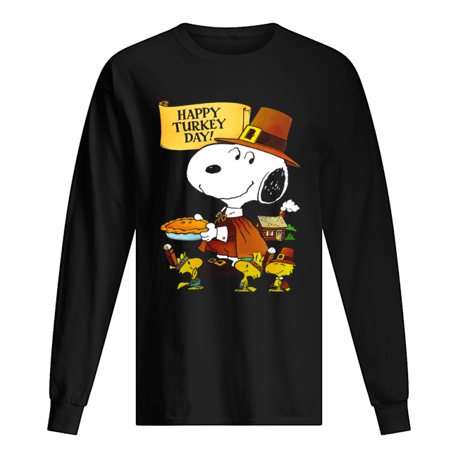 Snoopy And Woodstocks Happy Turkey Day Long Sleeved T-shirt