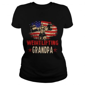 American Flag Weightlifting Grandpa  Classic Ladies