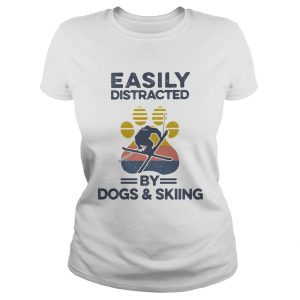Easily Distracted By Dogs And Skiing Footprint Vintage Retro  Classic Ladies