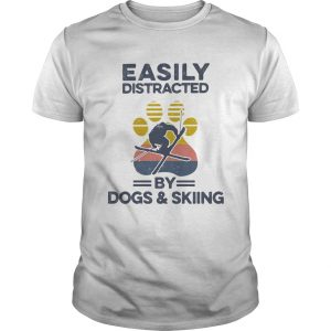 Easily Distracted By Dogs And Skiing Footprint Vintage Retro  Unisex