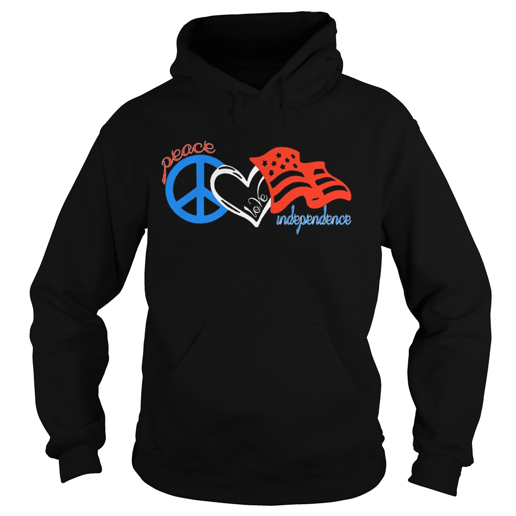 Peace love independence day american flag  Hoodie